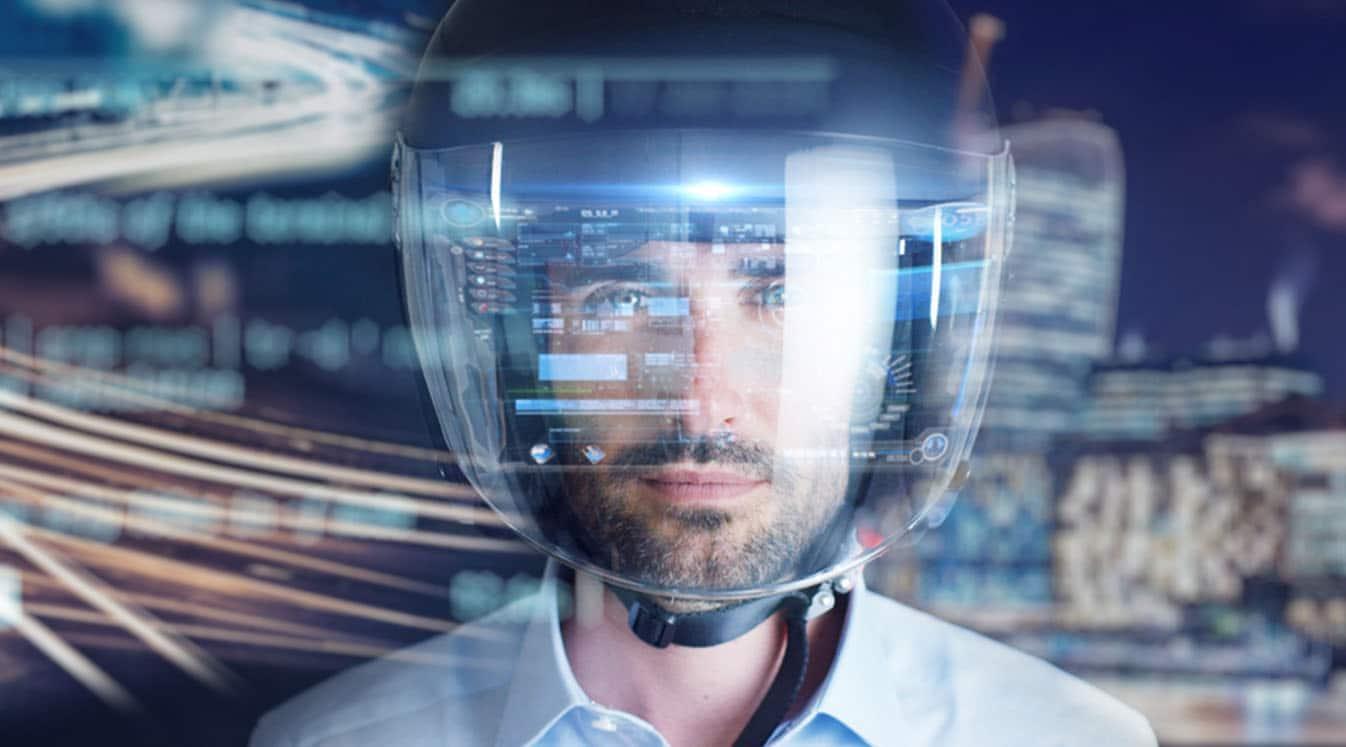 man wearing motorcycle helmet