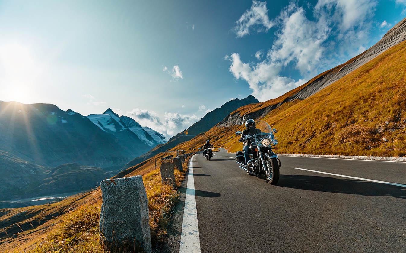 Motorcycle ride through mountains