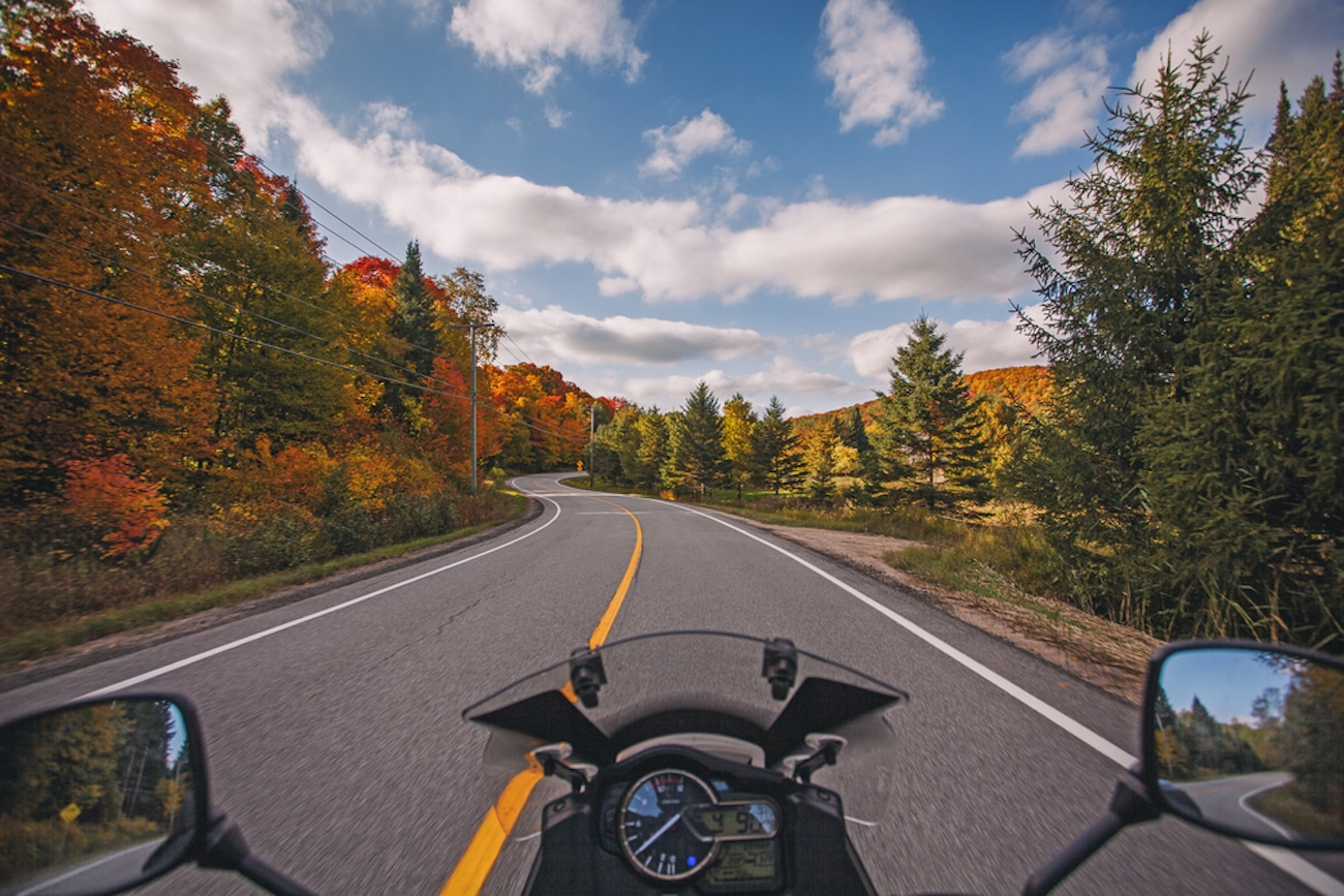 motorcycle rider perspective on road
