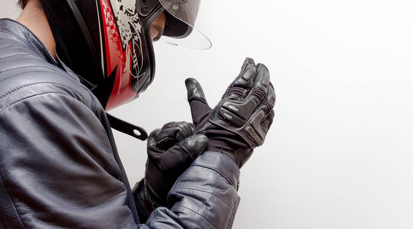 wearing helmet and leather jacket