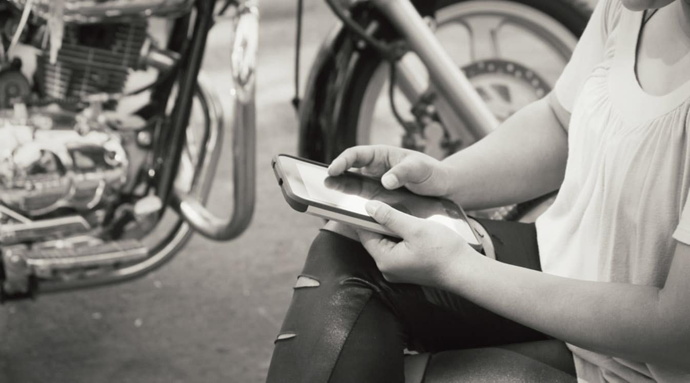 Using tablet with motorcycle
