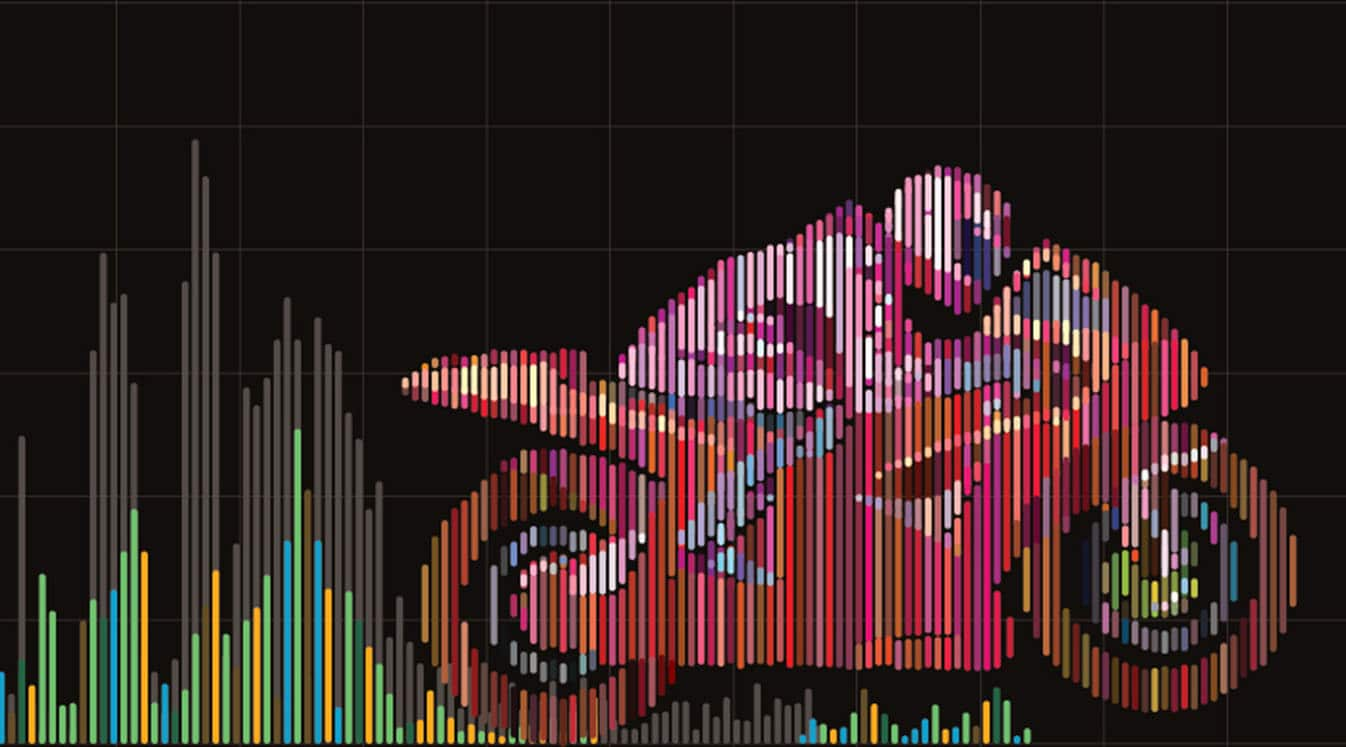 Motorcycle racing. Vector artwork in the style of digital equalizer