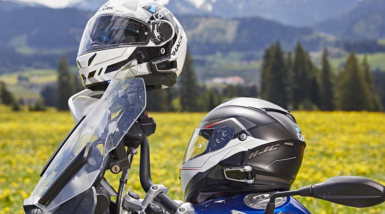 pair of bike helmets outdoors